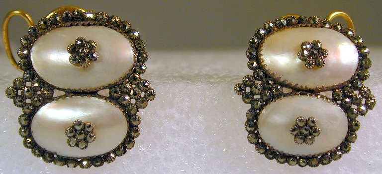 Women's Antique Coque de Perle and Pyrite Earrings For Sale