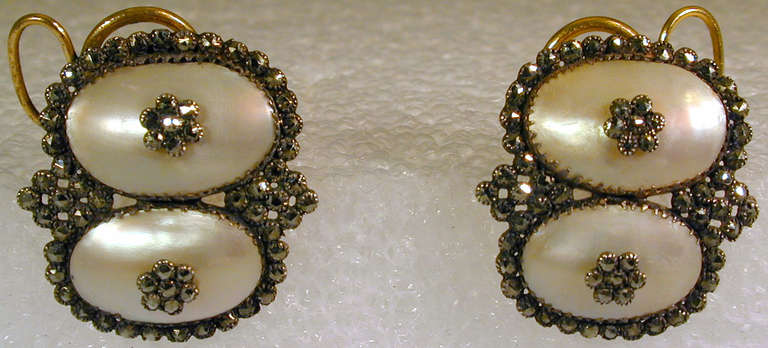 Georgian Antique Coque de Perle and Pyrite Earrings For Sale
