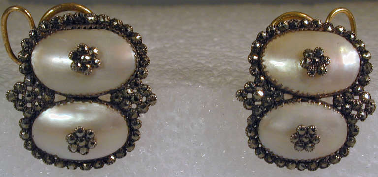 Rare Georgian coque de perle and pyrite earrings set in low carat gold. The style of the earrings is called