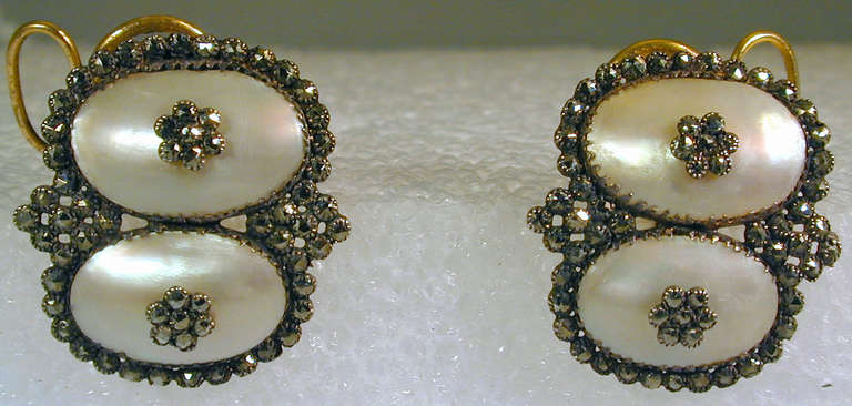 Antique Coque de Perle and Pyrite Earrings In Excellent Condition For Sale In Baltimore, MD