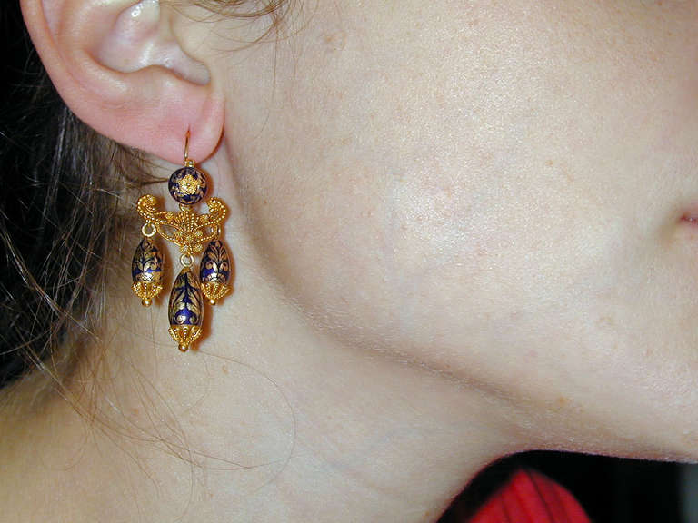 Women's Antique Enamel Gold Girandole Earrings For Sale