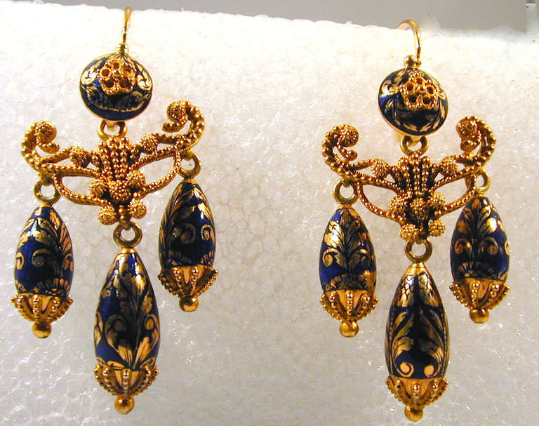 Victorian Antique Enamel Gold Girandole Earrings For Sale