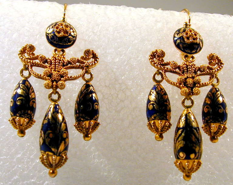 Antique Enamel Gold Girandole Earrings In Excellent Condition For Sale In Baltimore, MD