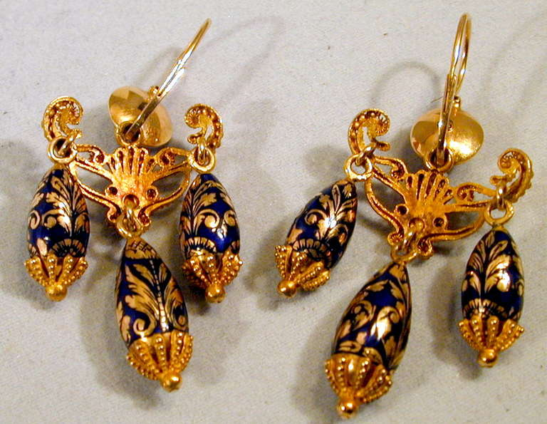 Antique Enamel Gold Girandole Earrings For Sale 1