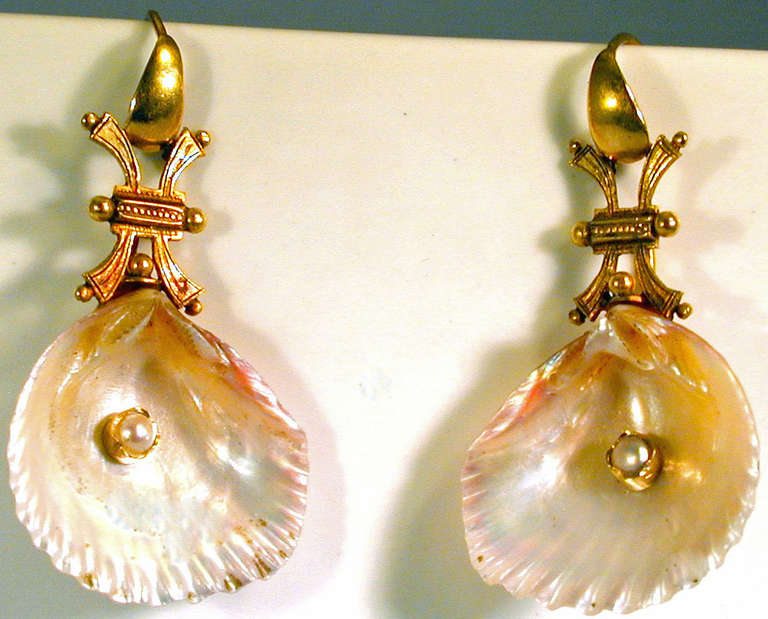 Antique Shell Pearl Gold Earrings 6