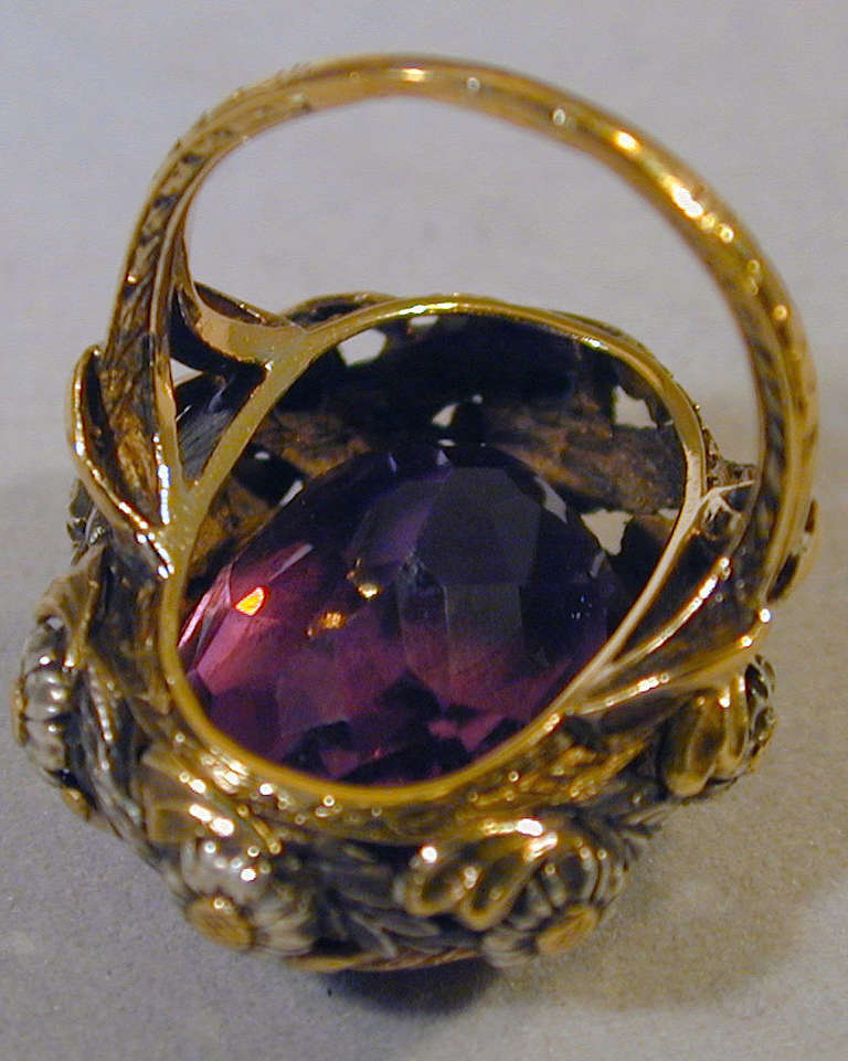 antique amethyst silver gold ring for sale at 1stdibs