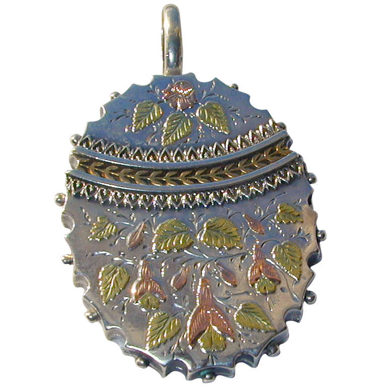 Antique Victorian Sterling and Gold Locket, circa 1870