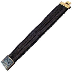 Antique Enameled Gold Hair Memorial Bracelet