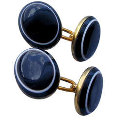 Antique Banded Agate Cufflinks