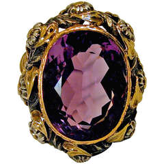 Antique Amethyst Silver Gold Ring