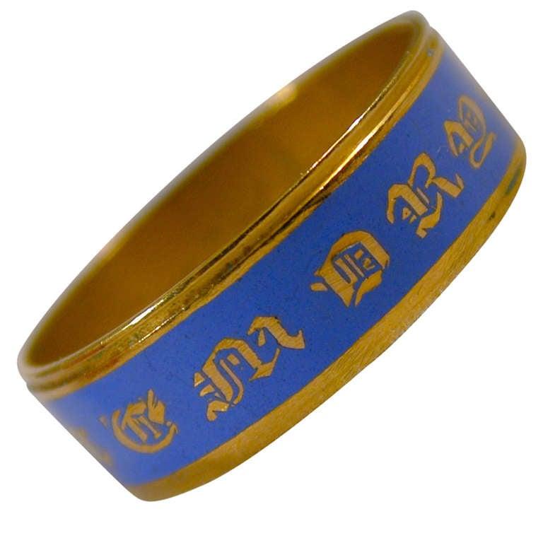 Antique Enamel Gold Memorial Ring