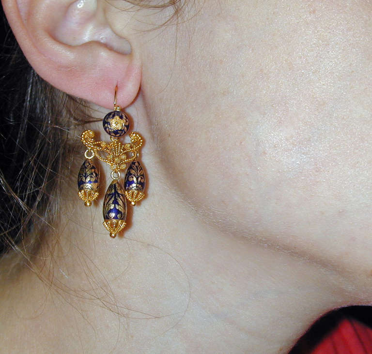 Antique Enamel Gold Girandole Earrings For Sale 3