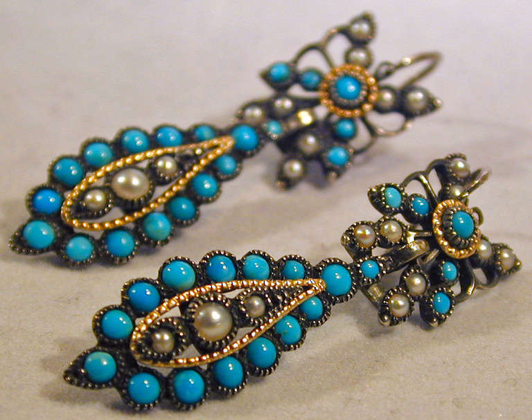 Victorian Antique Turquoise Pearl Drop Earrings For