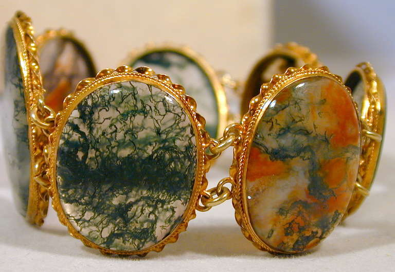 antique moss agate silver gilt bracelet at 1stdibs