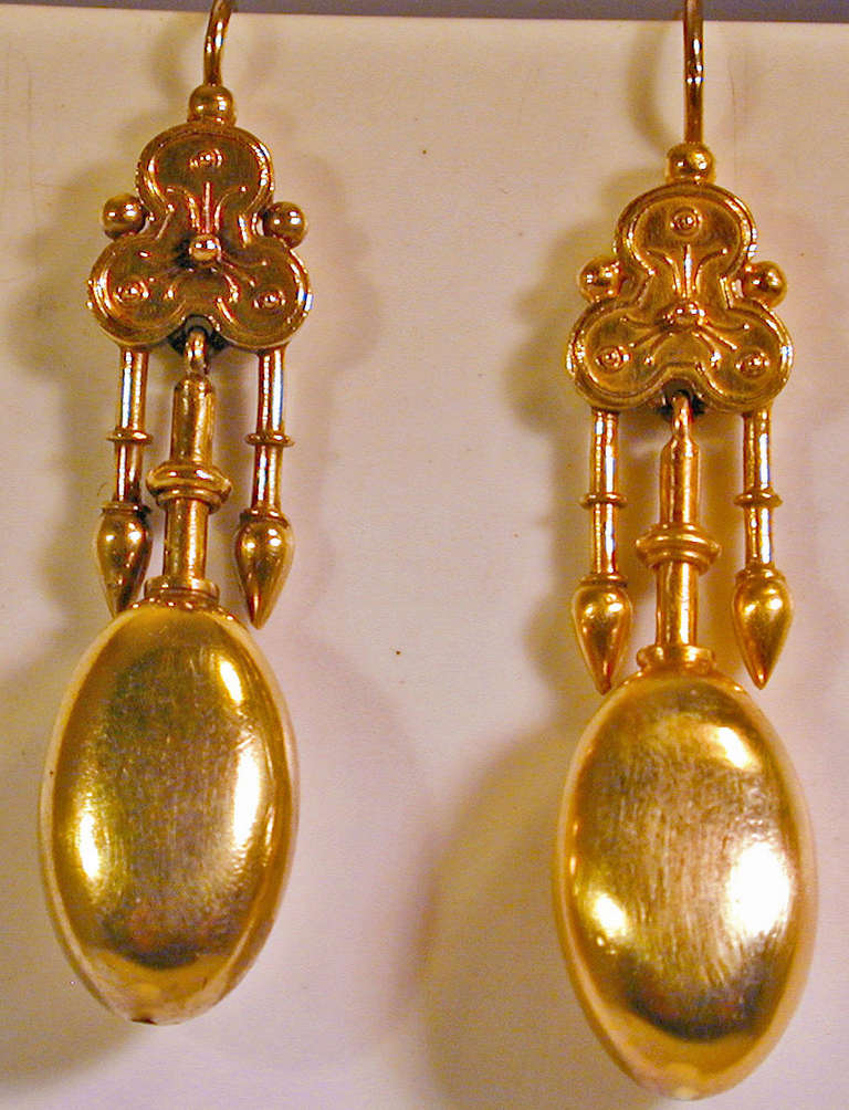 Antique Gold Etruscan Motif Earrings 2