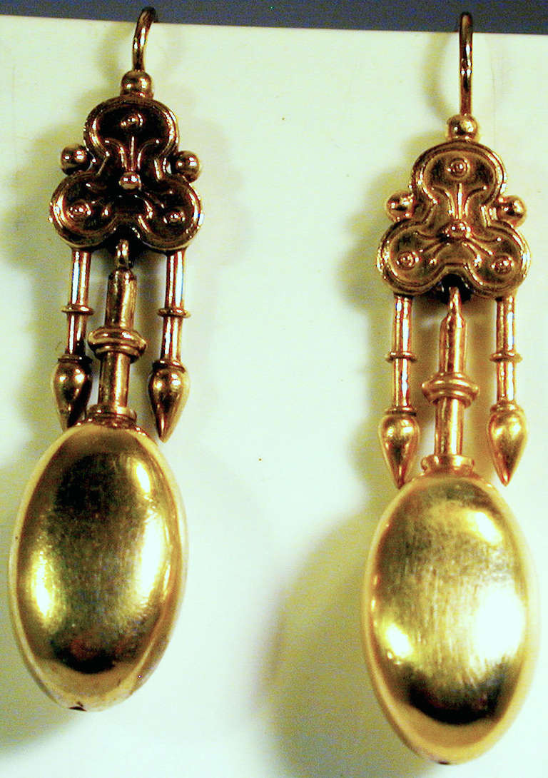 Victorian Antique Gold Etruscan Motif Earrings For Sale