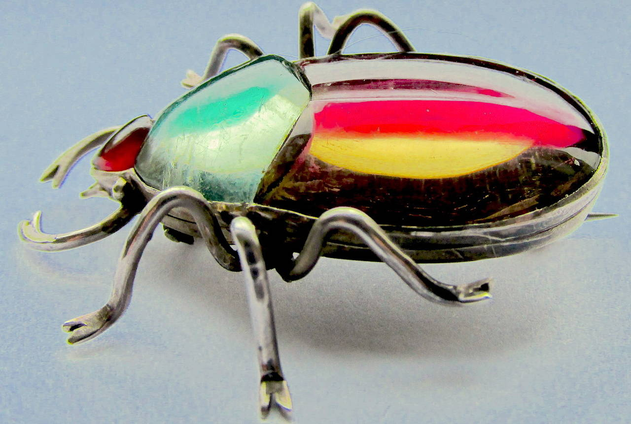 Antique Rock Crystal Bug Pin 3