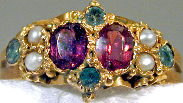 antique pearl amethyst emerald gold ring at 1stdibs