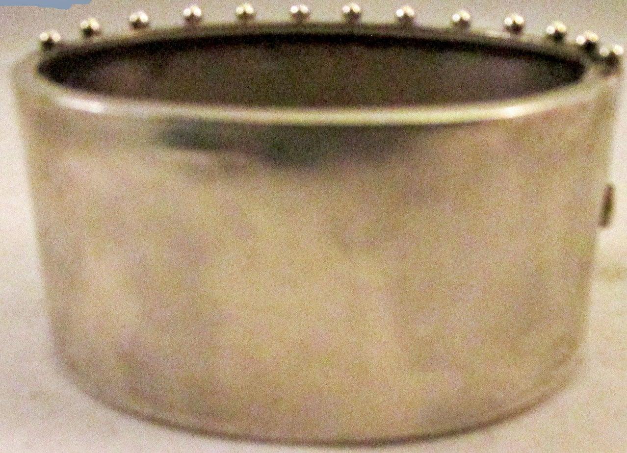 Antique Silver Floral Motif Cuff Bracelet For Sale 1