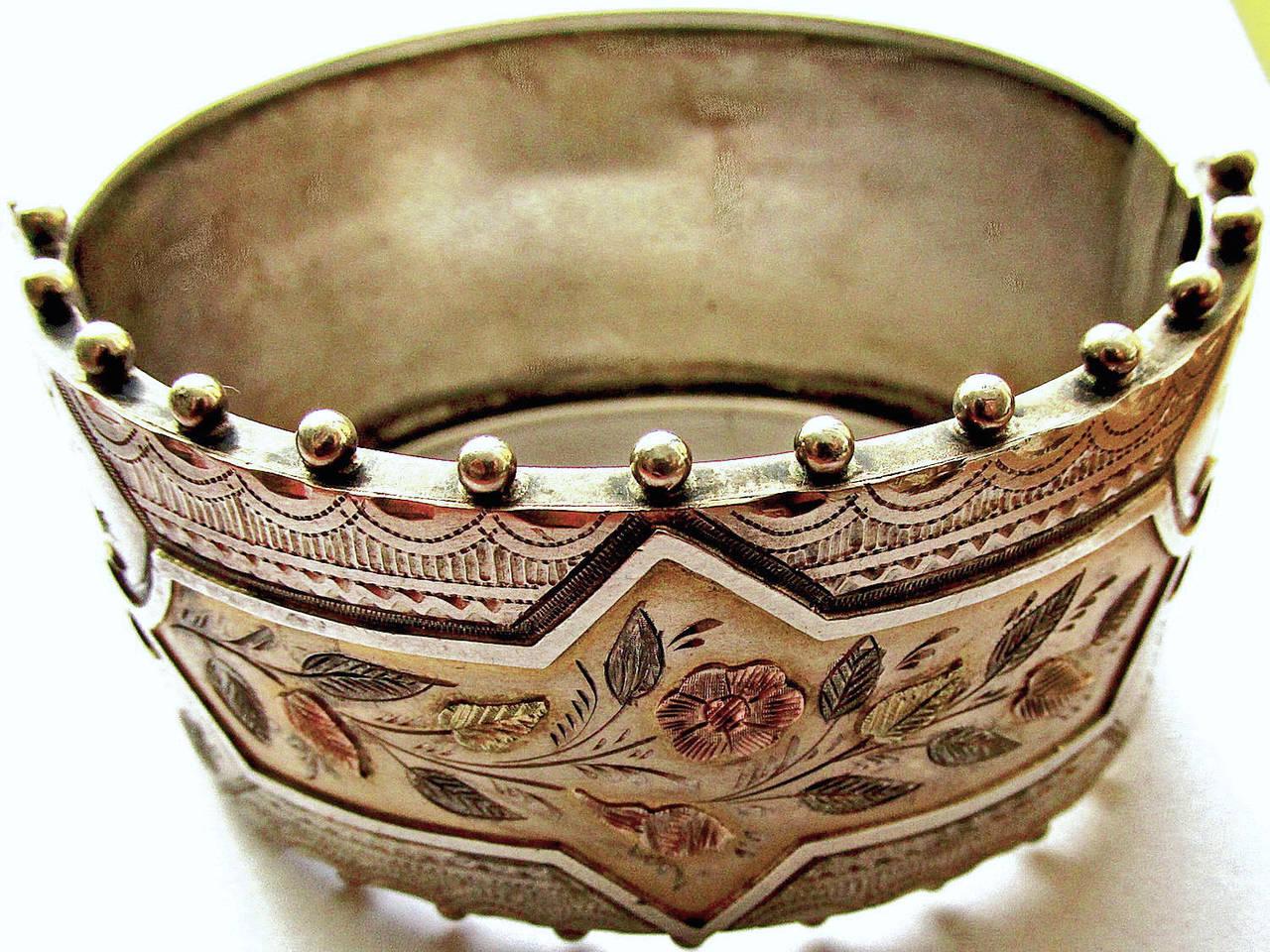 Victorian Antique Silver Floral Motif Cuff Bracelet For Sale