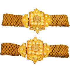 Pair of Antique Pearl Gold and Woven Hair Bracelets