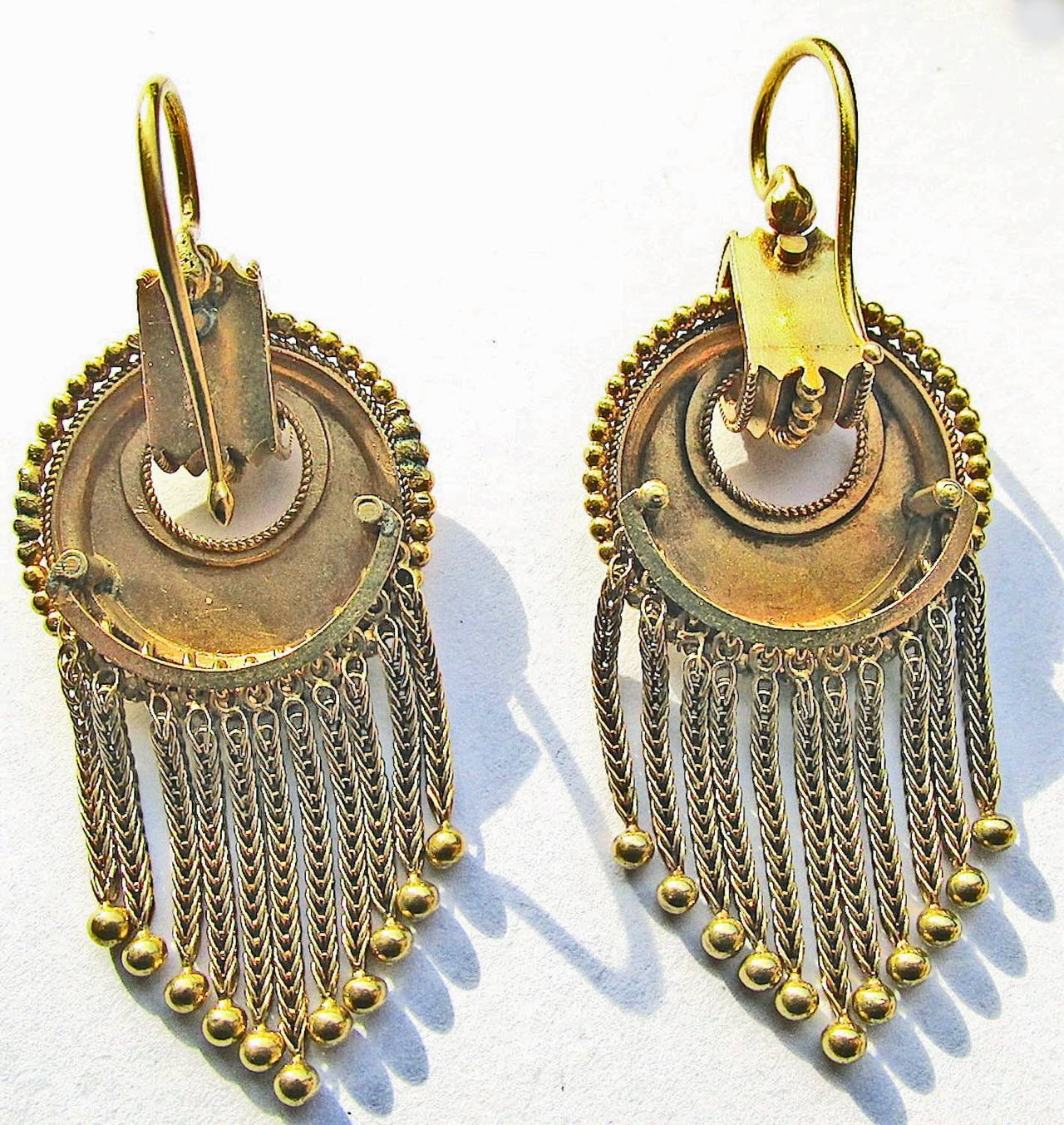 Wonderful Victorian 18k Gold Fringe Earrings That Will Swing And Sway As You Walk Down The