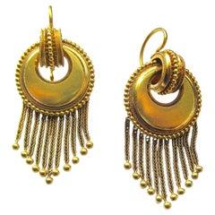 Victorian 18K Gold Fringe Dangle Earrings c1860
