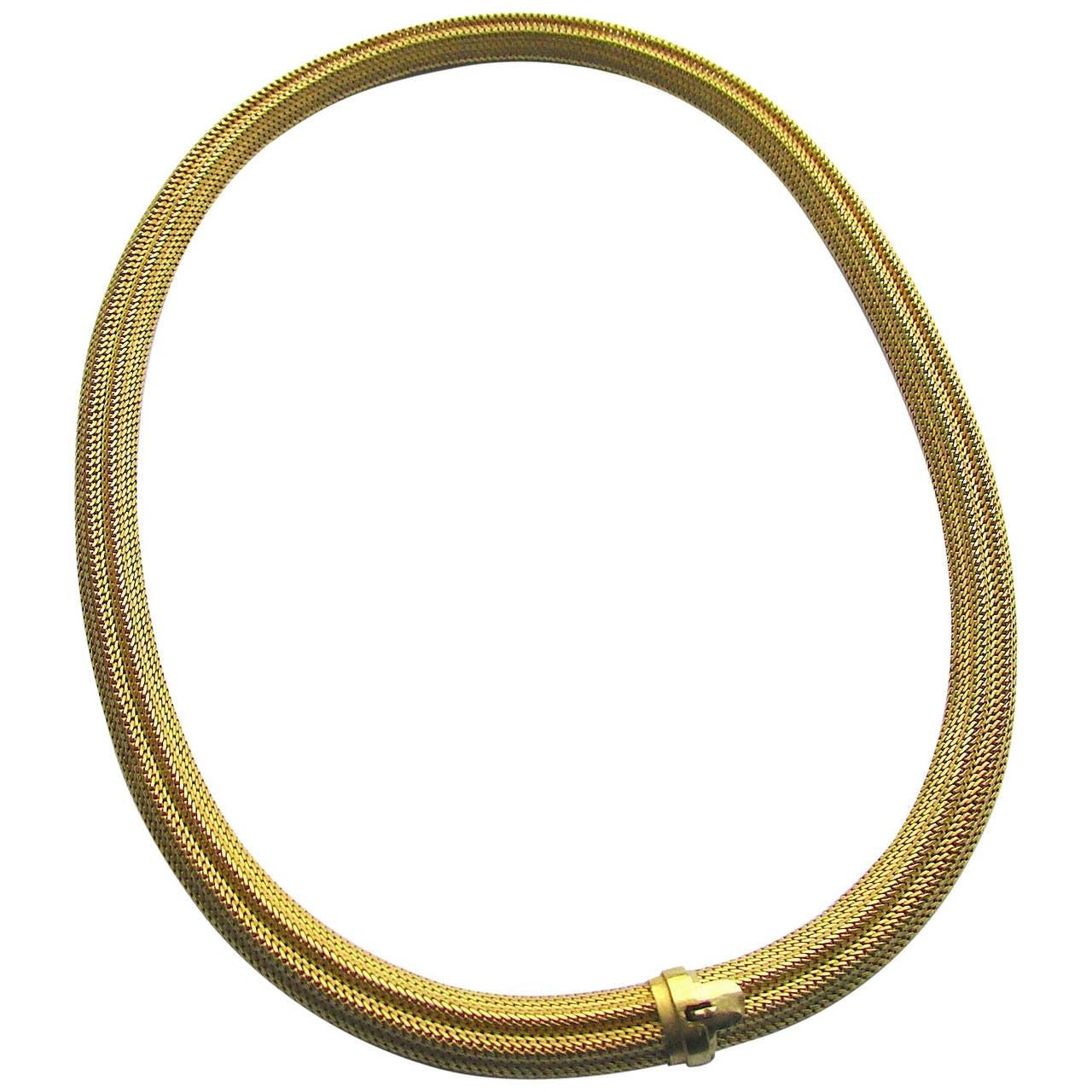 Antique 18 Karat Gold Mesh Collar Necklace, circa 1870
