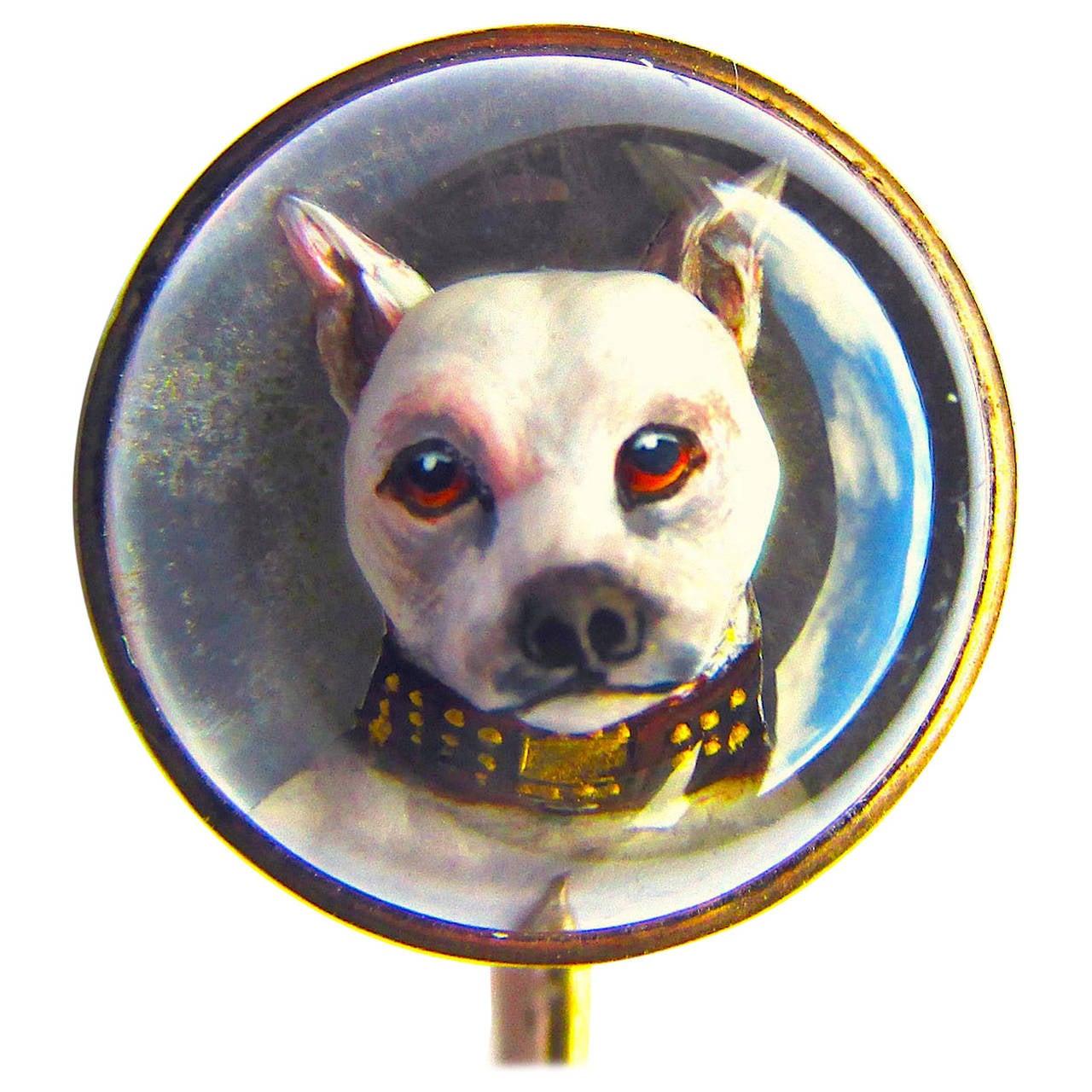 Antique Essex Crystal English Terrier Stickpin