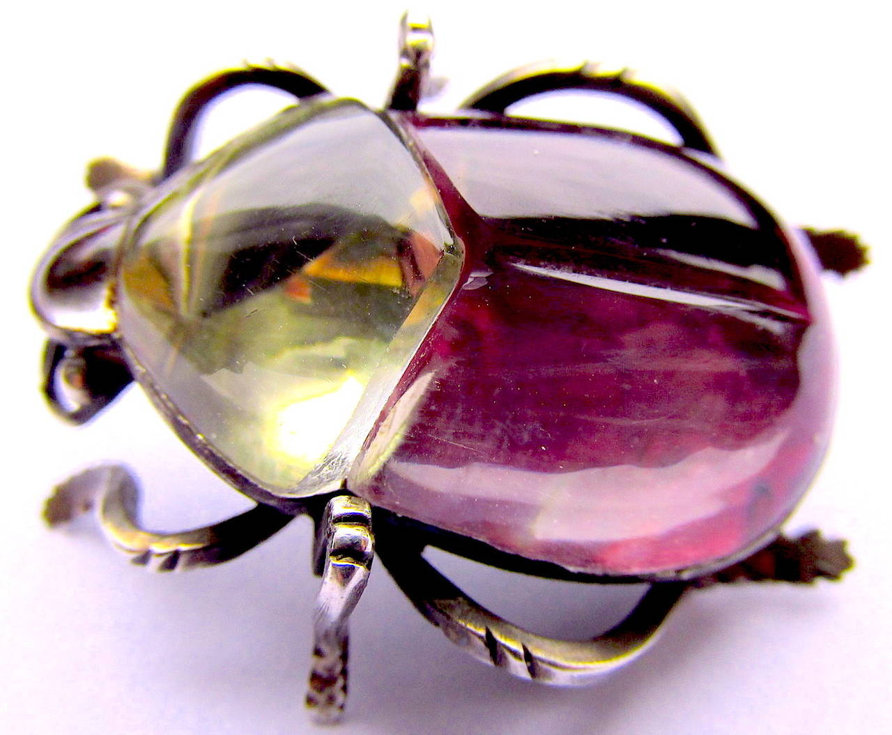 Victorian Antique Rock Crystal Bug Pin For Sale