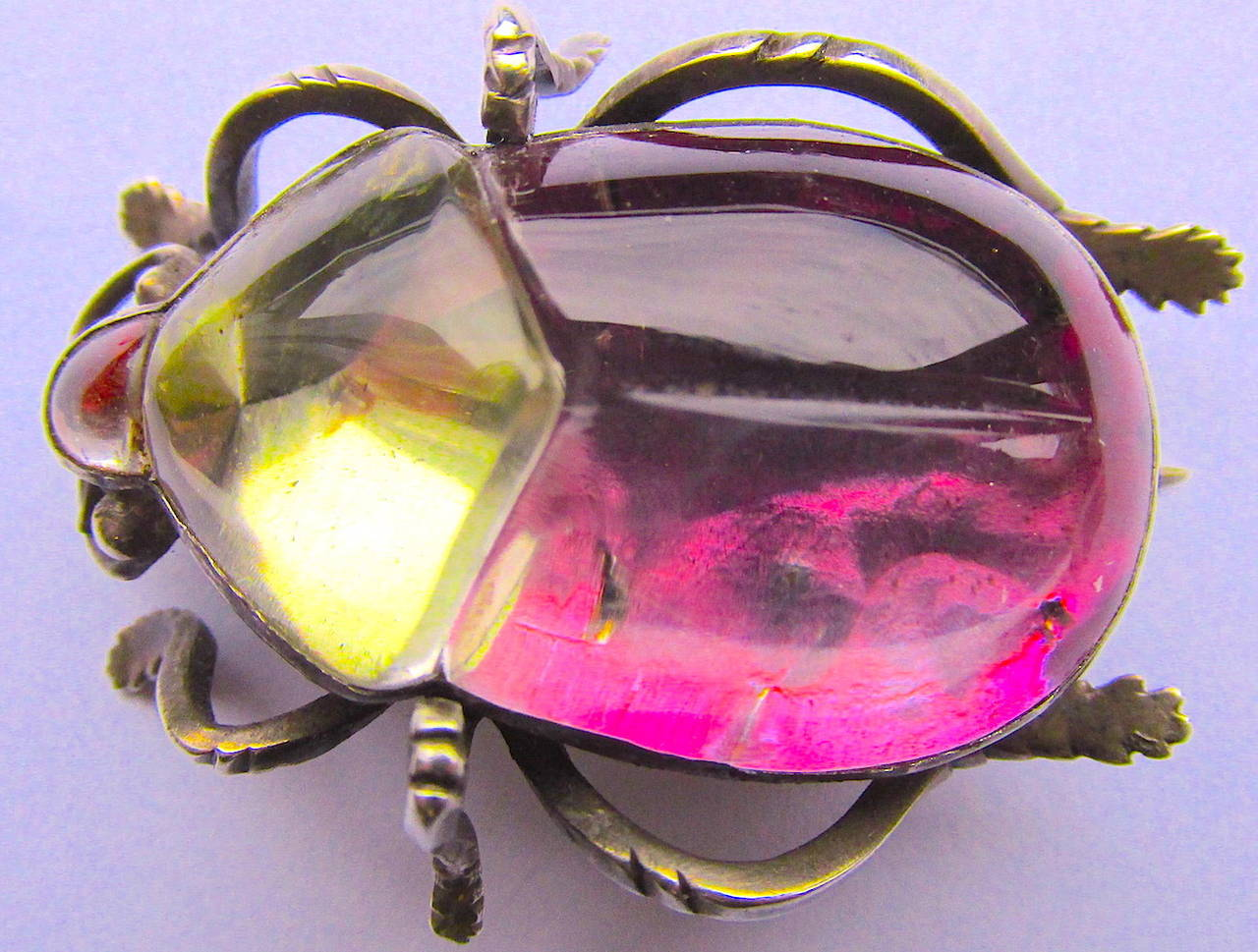 Antique Rock Crystal Bug Pin In Excellent Condition For Sale In Baltimore, MD