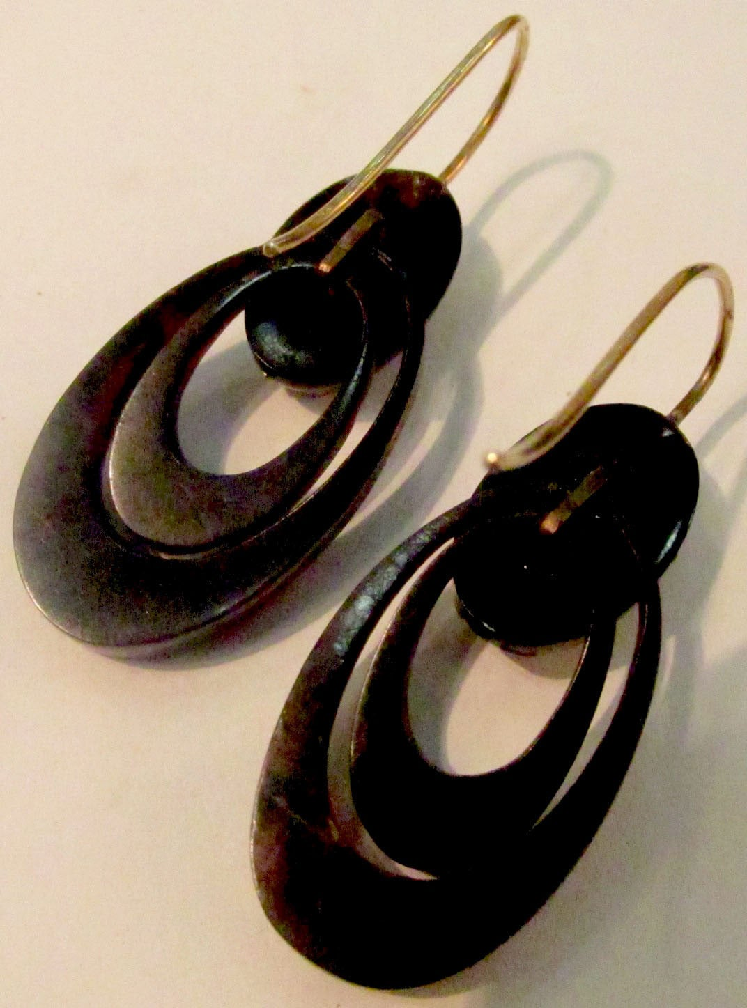 Victorian Antique Pique and Gold Hoop Earrings For Sale