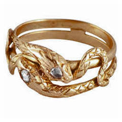Antique Gold Double Snake Ring with 2 diamonds