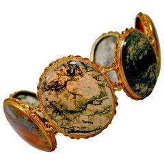 Antique Moss Agate Silver Gilt Bracelet