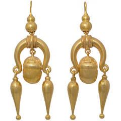 Antique Scarab Motif Gold Earrings