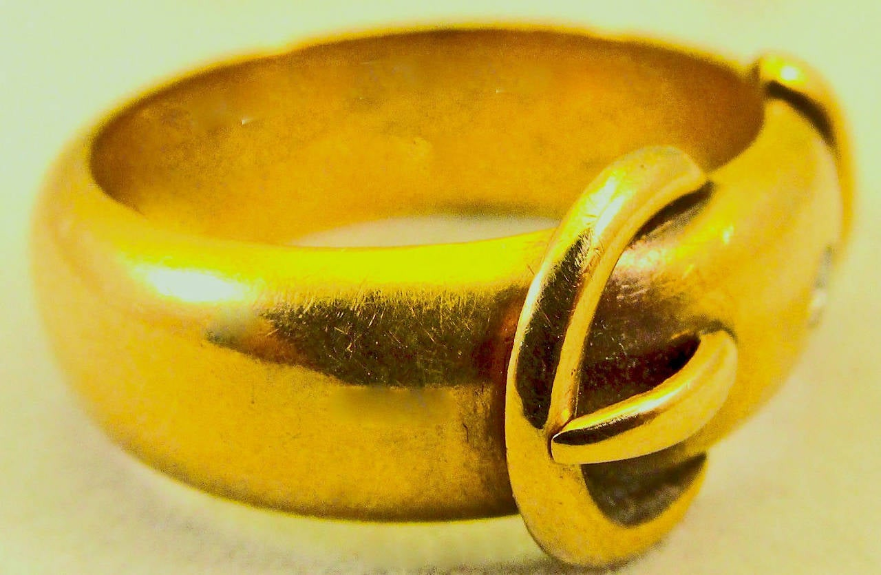 Antique Diamond Gold Buckle Ring 5