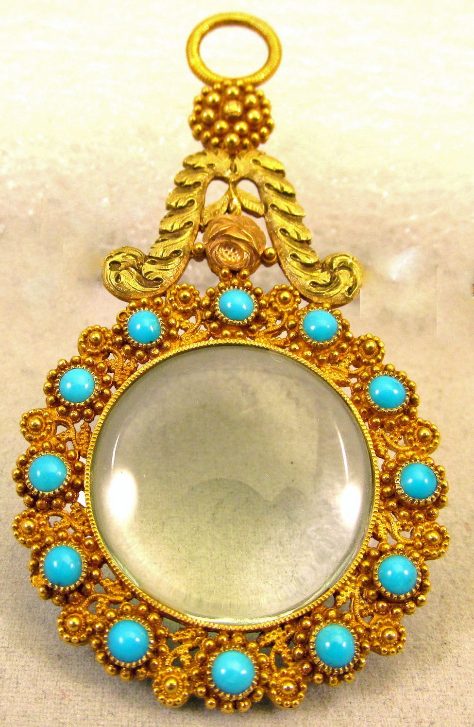 Georgian Antique Gold and Turquoise Quizzing Glass For Sale