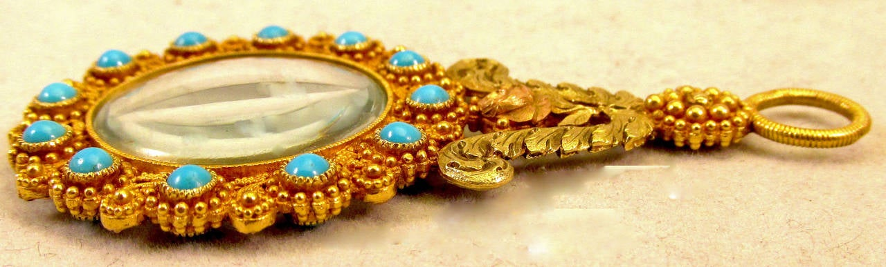 Women's Antique Gold and Turquoise Quizzing Glass For Sale
