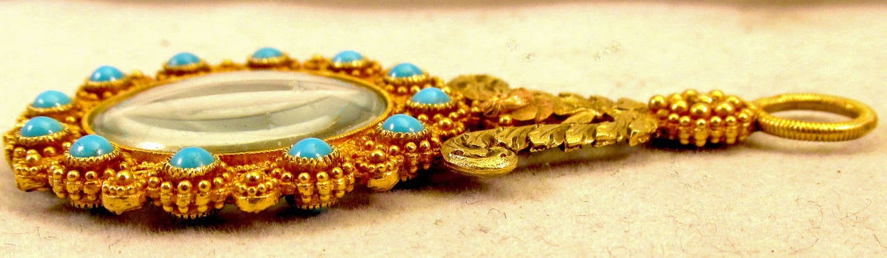 Antique Gold and Turquoise Quizzing Glass For Sale 1
