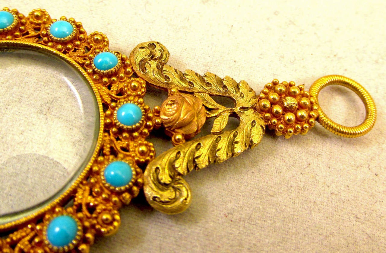 Antique Gold and Turquoise Quizzing Glass In Excellent Condition For Sale In Baltimore, MD