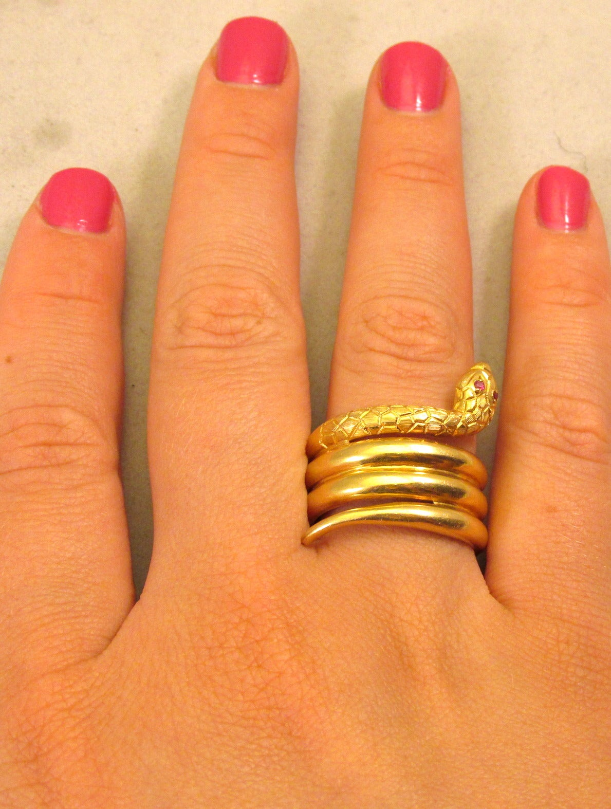 Antique Gold Snake Ring 3