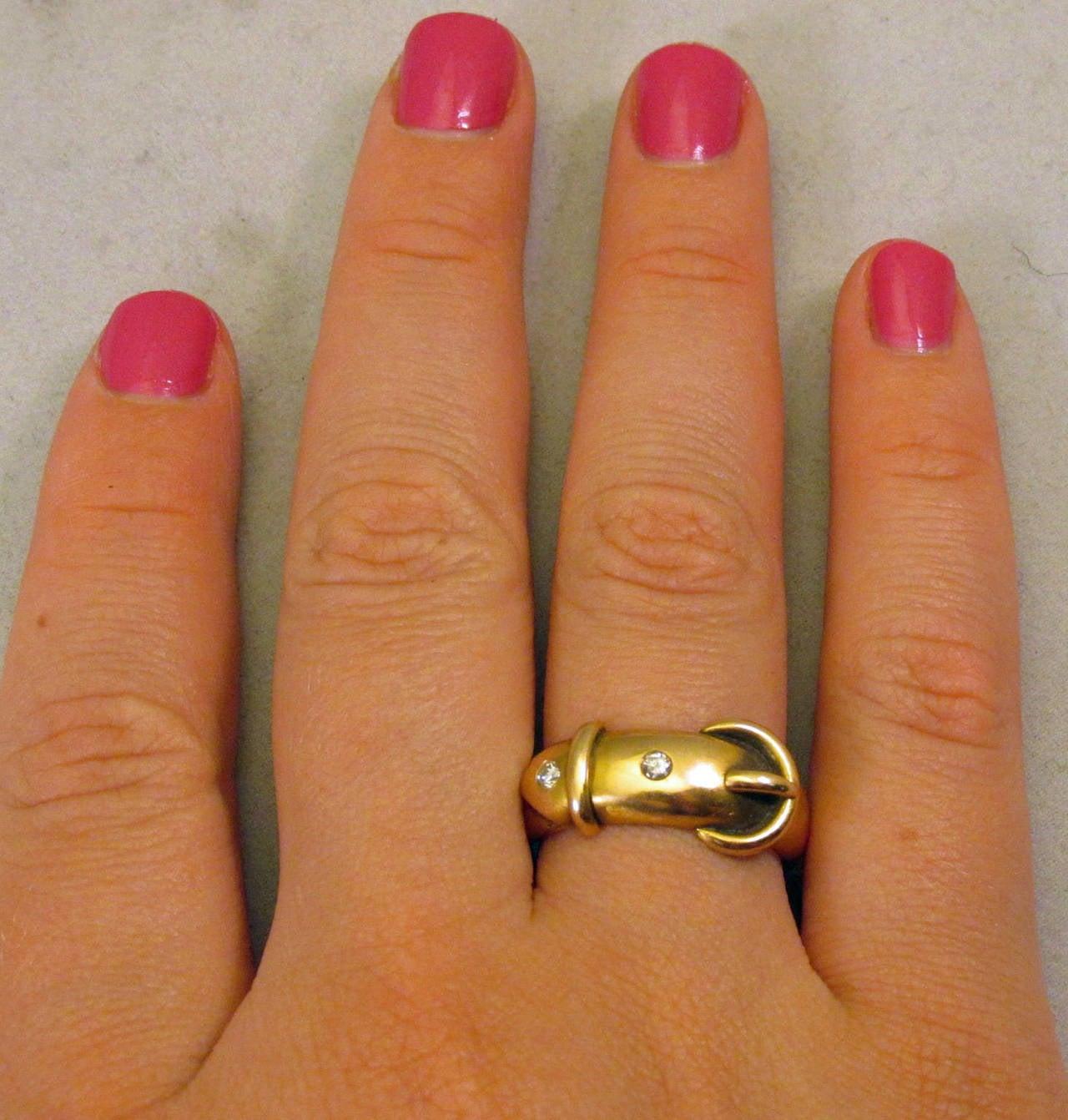 Antique Diamond Gold Buckle Ring 7