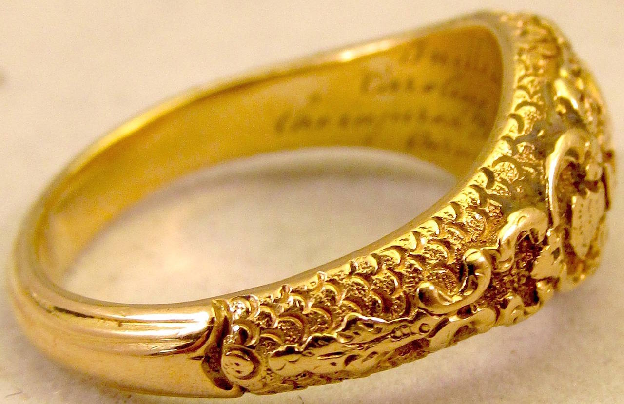 Women's or Men's Antique Gold Memorial Ring Caroline of Brunswick Wife of George IV For Sale