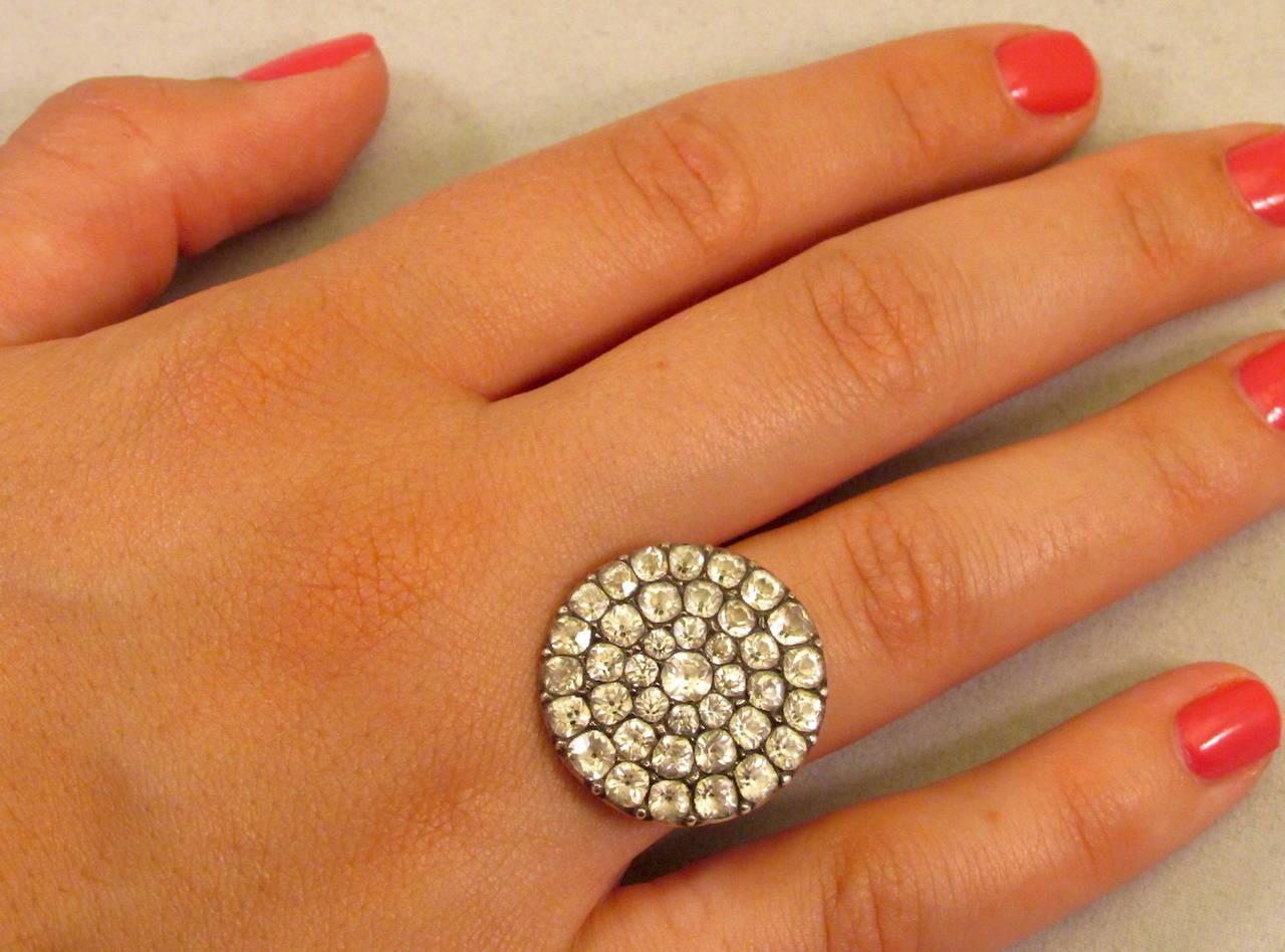 Antique Black Dot Paste Cluster Ring For Sale 2