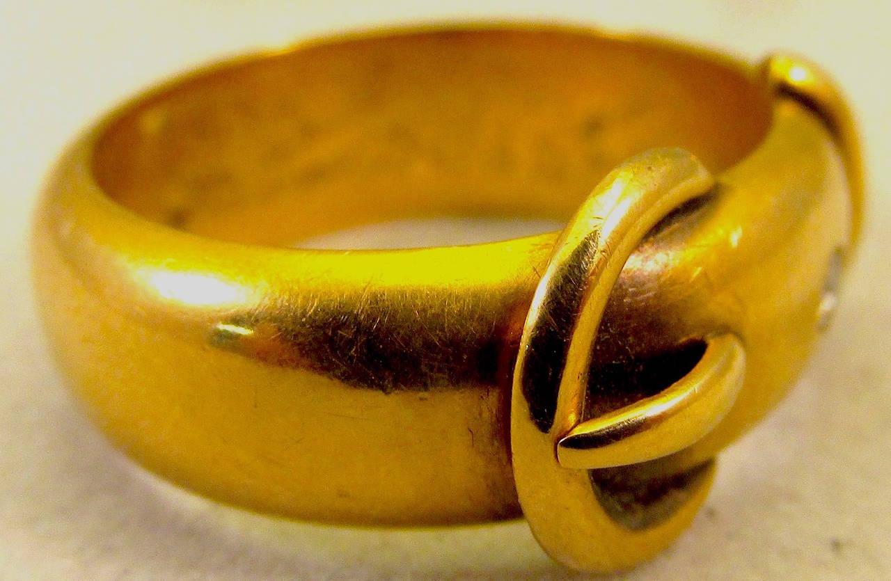Antique Diamond Gold Buckle Ring 3