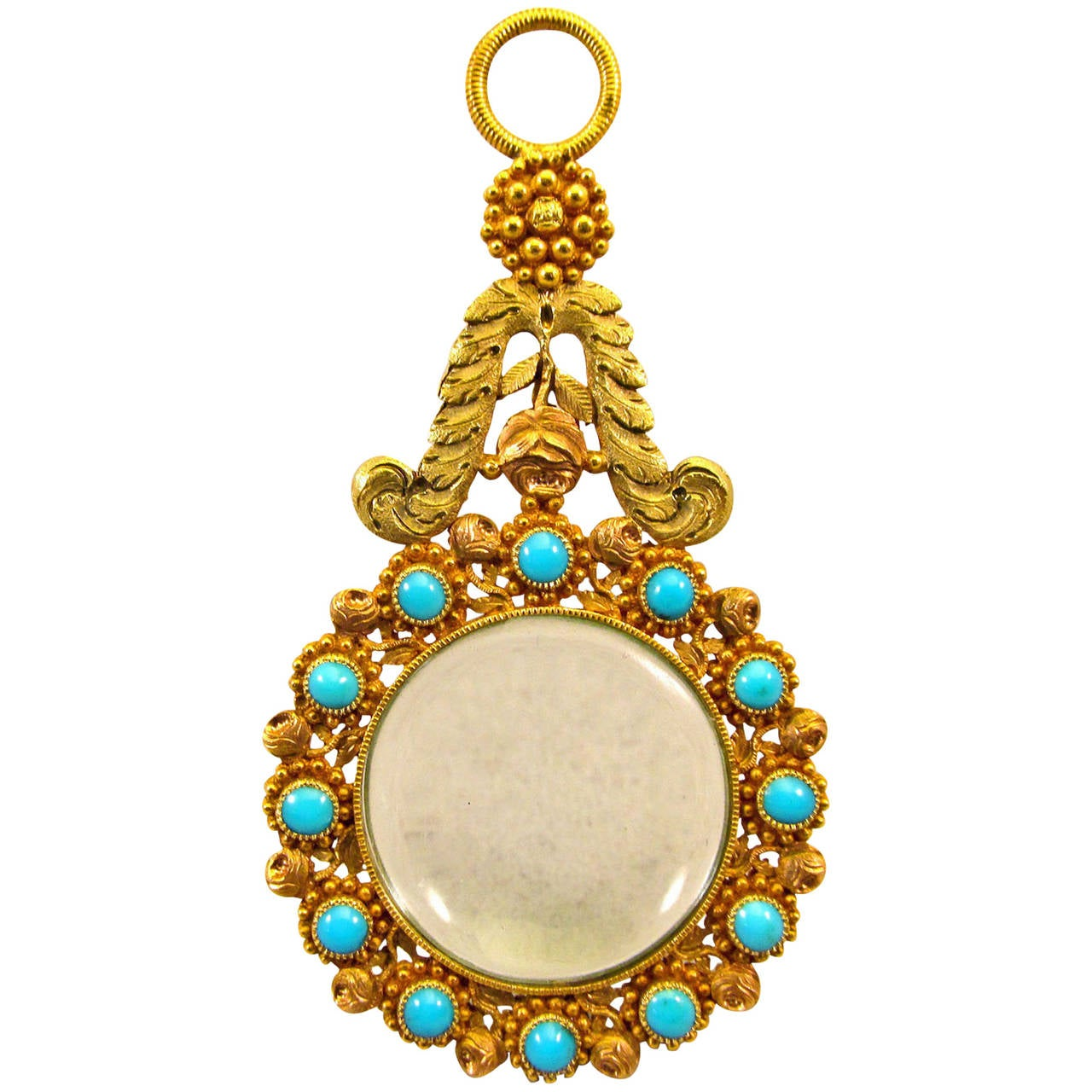 Antique Gold and Turquoise Quizzing Glass For Sale
