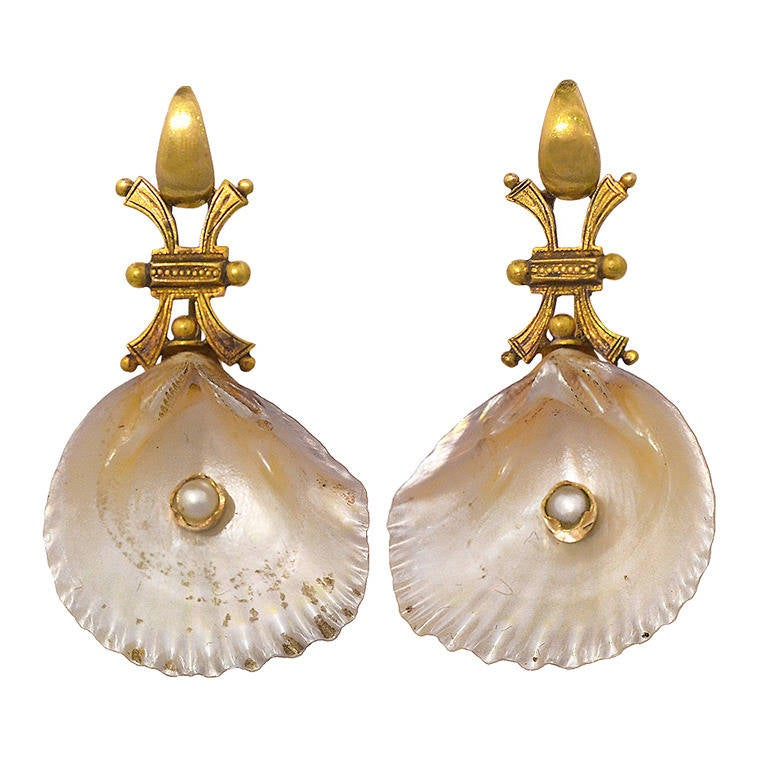 Antique Shell Pearl Gold Earrings 1