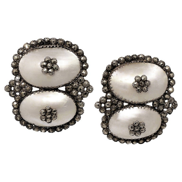 Antique Coque de Perle and Pyrite Earrings For Sale