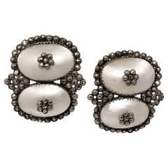Antique Coque de Perle and Pyrite Earrings