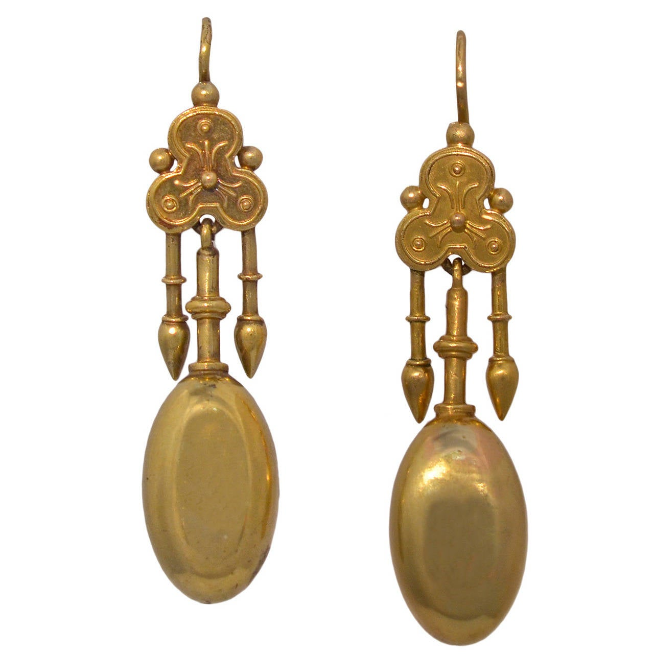 Antique Gold Etruscan Motif Earrings For Sale